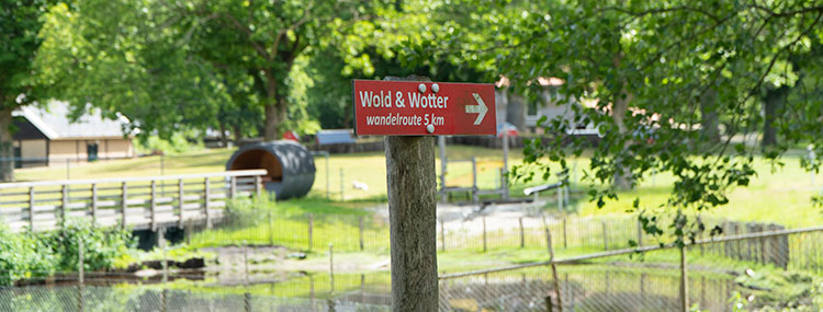 Markering route Wold en Water Veendam wandelroute 5 km